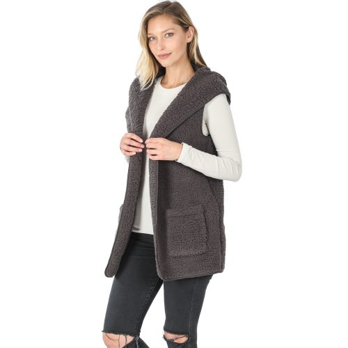 FJ-75021 Ash Grey Solid Sherpa Hooded Vest