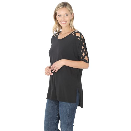 RT-1781P Black Criss-Cross Shoulder Ladies Top
