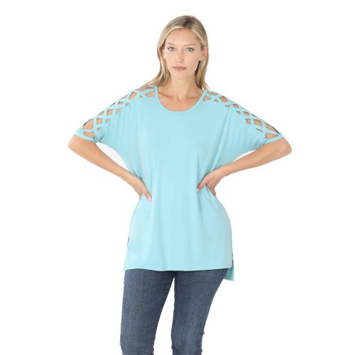 RT-1781P Milky Blue Criss-Cross Shoulder Ladies Top
