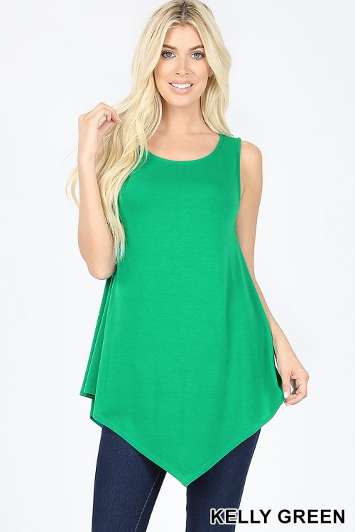 RT-1894P-Green Sleeveless Ladies Top