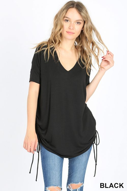 RT-2057P Black Short Sleeve Side Scrunch Ladies Top