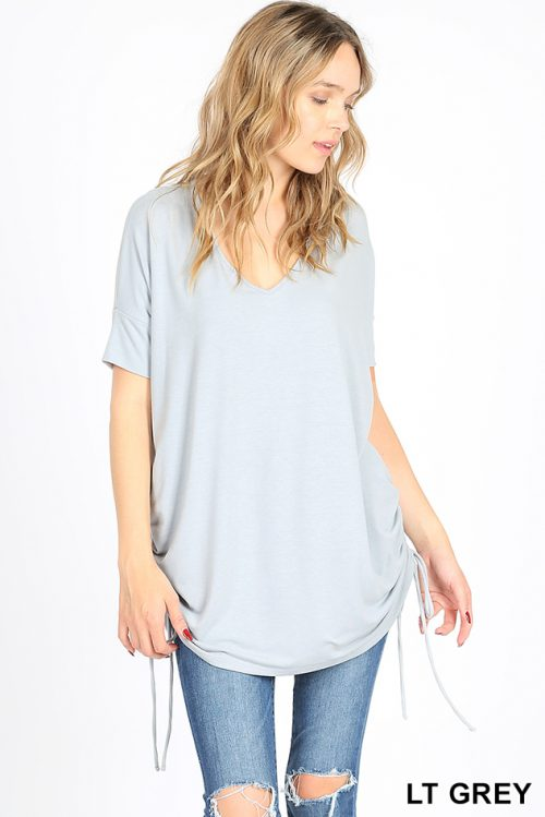 RT-2057P Light Grey Short Sleeve Side Scrunch Ladies Top