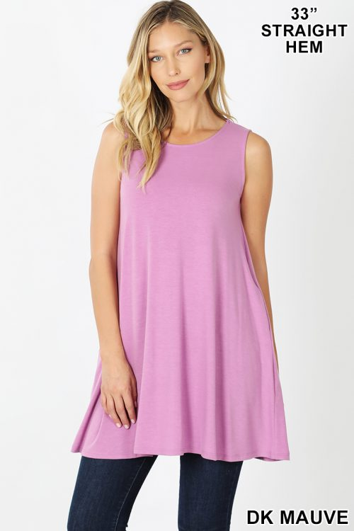 RT-9926P Mauve Sleeveless Round Neck Tunic With Side Pockets