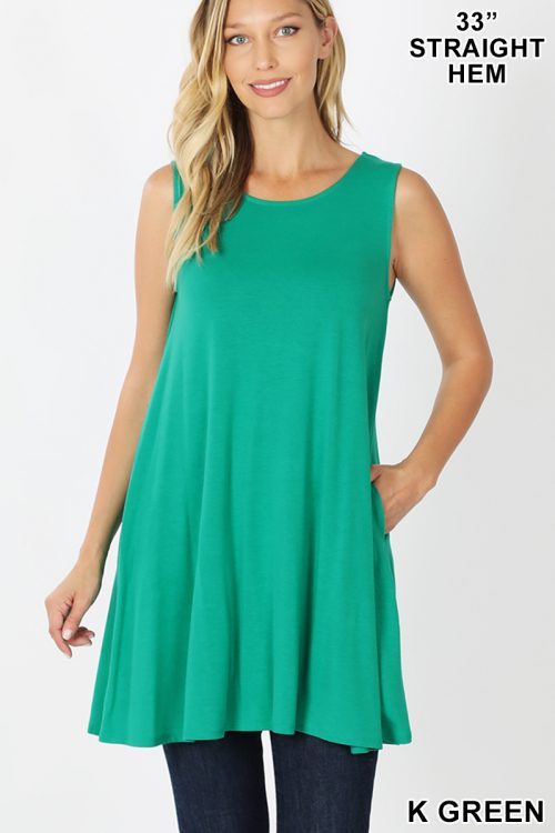 RT-9926P Green Sleeveless Round Neck Tunic With Side Pockets