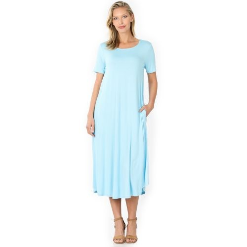 VD-7005AB Baby Blue Viscose Dress with Round Neck